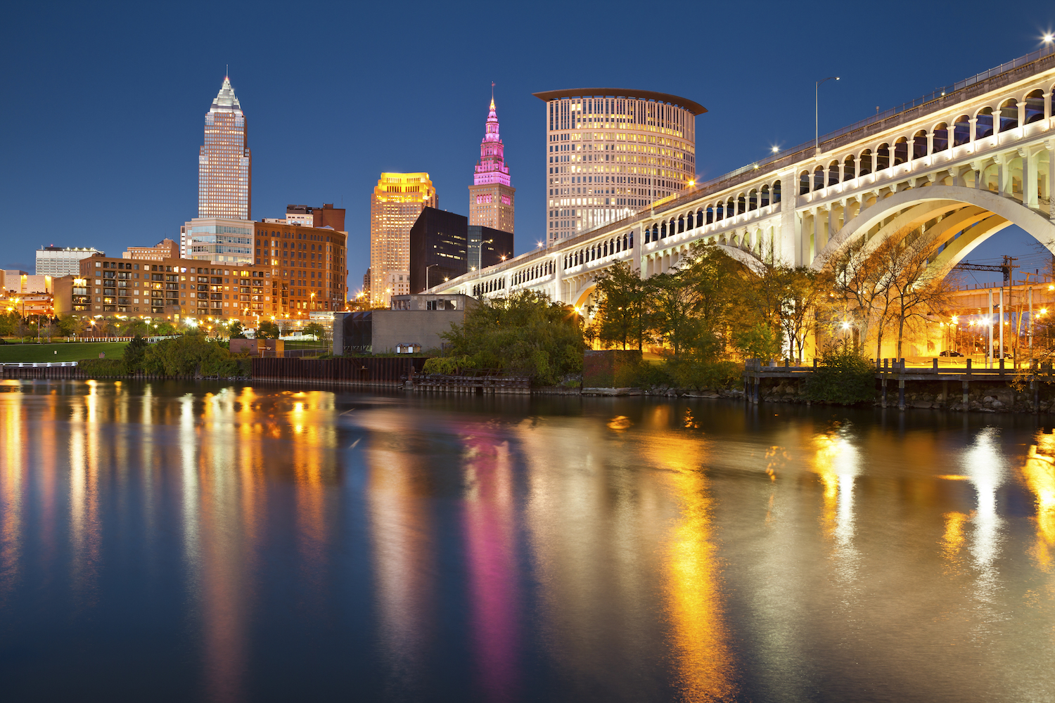 Cleveland. Image of Cleveland downtown at twilight blue hour