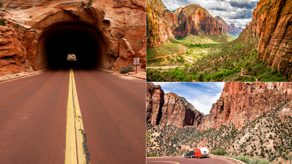 The Zion-Mt. Carmel Hwy is road trip perfection, with switchback curves and sandstone tunnels